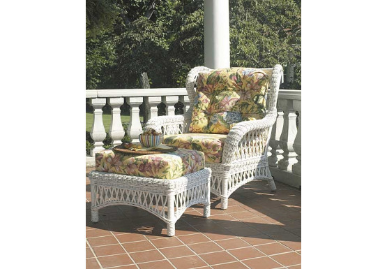 Old Nassau Woven Rattan Wing Chair with Cushions - Old Nassau Woven Rattan Wing Chair with Cushions