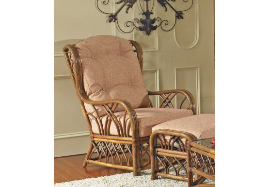 Orchard Park Natural Rattan High Back Wing Chair - Orchard Park Natural Rattan High Back Wing Chair
