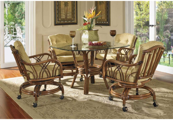 """Orchard Park Rattan Dining Set 42"""" Square Round Glass - Orchard Park Rattan Dining Set 42"""" Square Round Glass"""
