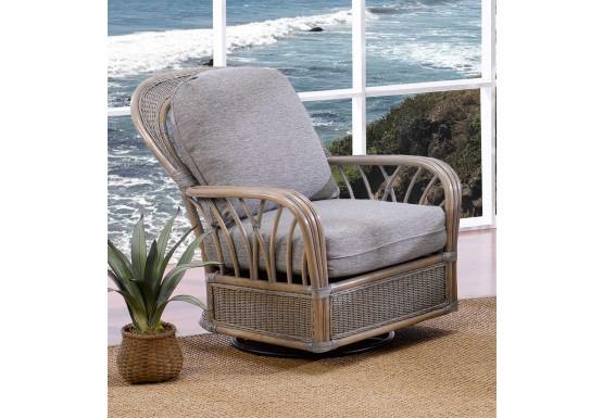 Oceanview Natural Rattan Swivel Glider Chair (Custom Finishes Available) - Oceanview Natural Rattan Swivel Glider Chair (Custom Finishes Available)