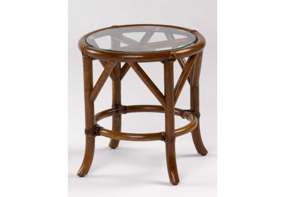 Rivera Round Rattan End Table with Glass To (Custom Finishes) - Rivera Round Rattan End Table with Glass To (Custom Finishes)