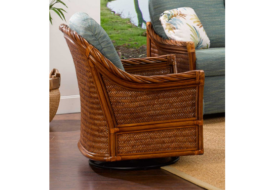South Shore Natural Rattan Swivel Glider Chair (Custom Finishes Available) - South Shore Natural Rattan Swivel Glider Chair (Custom Finishes Available)