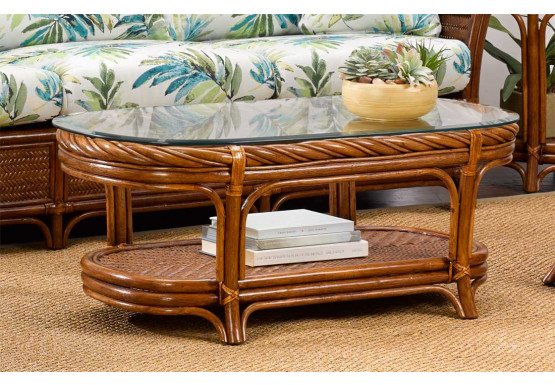 South Shore Oval Rattan Cocktail Table (Custom Finishes) - South Shore Oval Rattan Cocktail Table (Custom Finishes)