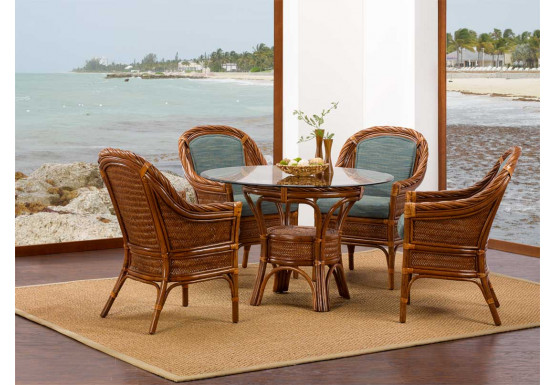 South Shores Rattan Glass Top Dining Sets (Custom Finishes Available) - South Shores Rattan Glass Top Dining Sets (Custom Finishes Available)