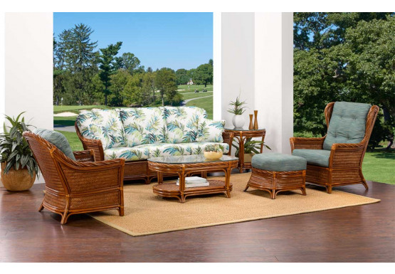 5 Piece South Shore Natural Rattan Sofa Set (Custom Finishes Available) - 5 Piece South Shore Natural Rattan Sofa Set (Custom Finishes Available)