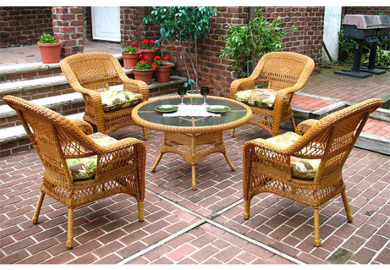 "Belaire Resin Wicker Conversation Set (1) 24"" High Table (4) Chairs - GOLDEN HONEY"