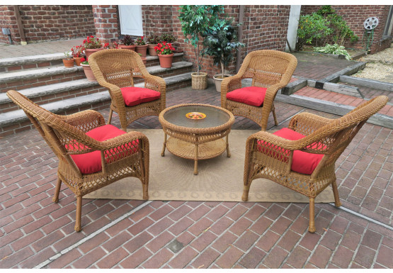 "Belaire Resin Wicker Conversation Set (1) 19.5""High Table  (4) Chairs - GOLDEN HONEY"