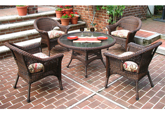 "Veranda Resin Wicker Conversation Set (1) 24"" High Table (4) Chairs - ANTIQUE BROWN"