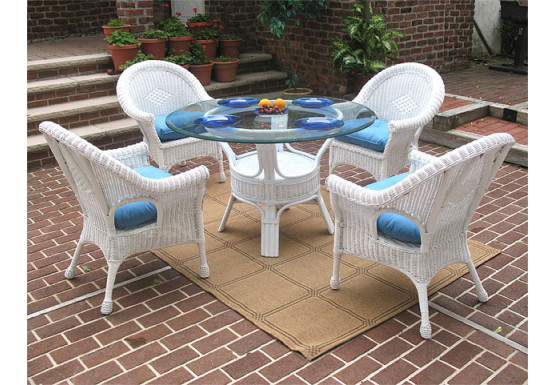 "5 Piece Diamond Natural Wicker Dining Set 48""  - WHITE"