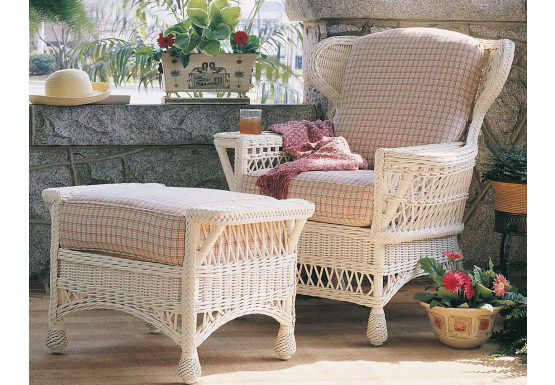 Vintage Natural Wicker Chair - WHITE