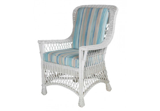 Lancaster Wicker Dining Arm Chair - WHITE