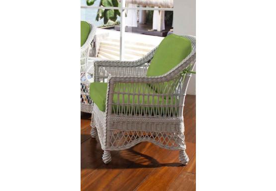 Capri  Rattan Framed Natural Wicker Chair - WHITE