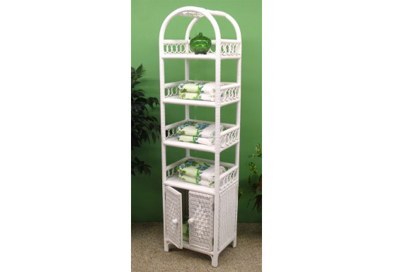 Wicker Etagere With Lower Door, White - Wicker Etagere With Lower Door, White