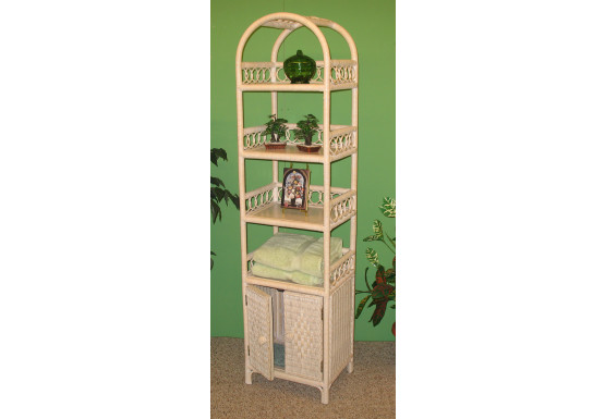 Wicker Etagere With Lower Door, Whitewash - WHITEWASH