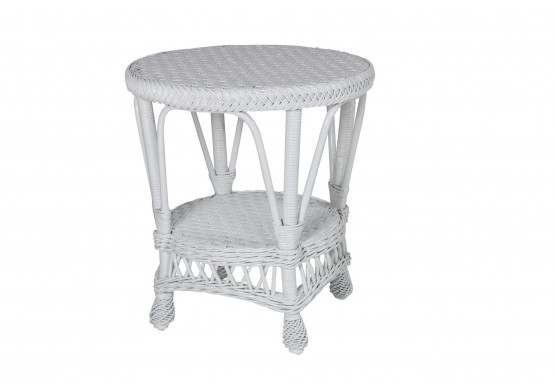 Vintage Natural Wicker End Table, Round - WHITE