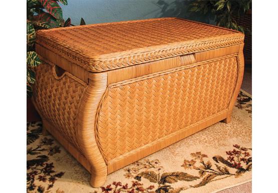 Large Woodlined Bombay Wicker Storage Trunk Caramel - Large Woodlined Bombay Wicker Storage Trunk Caramel