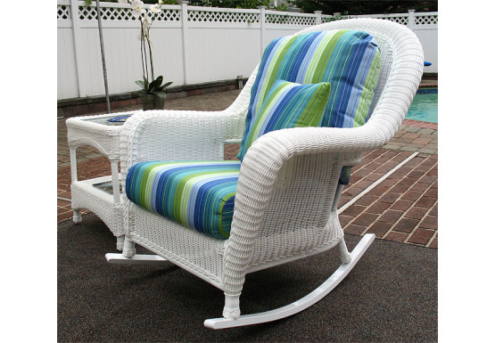 Laguna Beach Resin Wicker Rockers, White - Laguna Beach Resin Wicker Rockers, White