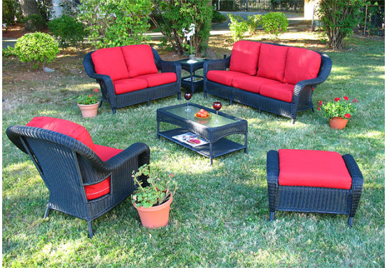 6 Piece Laguna Beach Resin Wicker Patio Furniture With Sofa Love