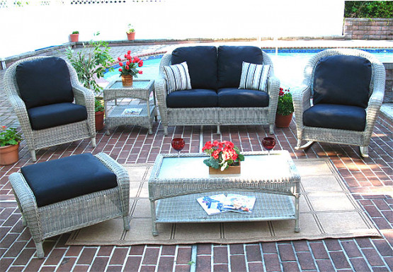 6 Piece Laguna Beach Resin Wicker Set with Love Seat, 2 Chairs, Otto & 2 Tables - DRIFTWOOD
