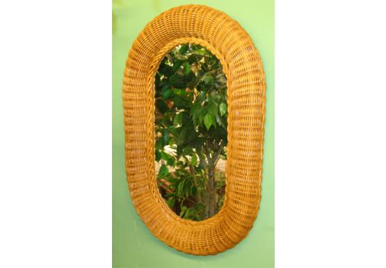 "Large Oval Wicker Mirror 29"" high - CARAMEL"