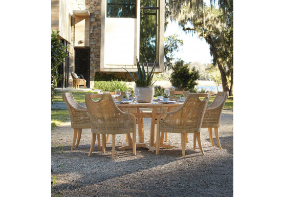 """Lane Venture Edgewood Resin Wicker and Teak 63"""" (7) Piece Round Dining Set with Cushions, 6 Chairs - PEBBLESTONE"""