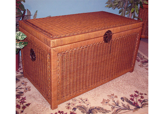 Wicker Trunks or Chests, Large Woodlined Tea Wash - Wicker Trunks or Chests, Large Woodlined Tea Wash