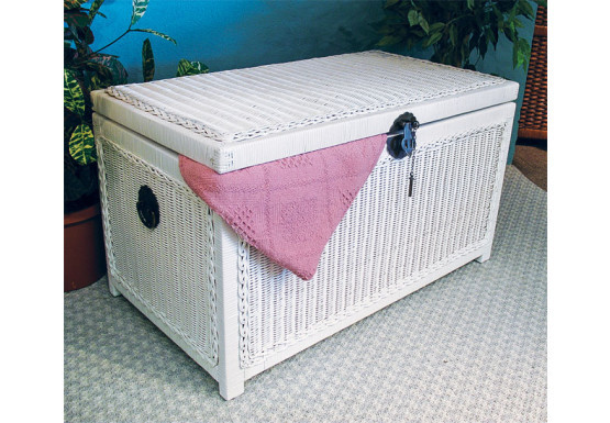Wicker Trunks or Chests, Large Woodlined White - Wicker Trunks or Chests, Large Woodlined White