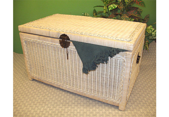 Wicker Trunks or Chests, Large Woodlined WhiteWash - Wicker Trunks or Chests, Large Woodlined WhiteWash