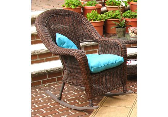 Malibu Resin Wicker Rocking Chairs, Antique Brown - Malibu Resin Wicker Rocking Chairs, Antique Brown