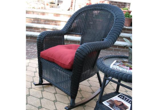 Malibu Resin Wicker Rocking Chairs, Black - Malibu Resin Wicker Rocking Chairs, Black