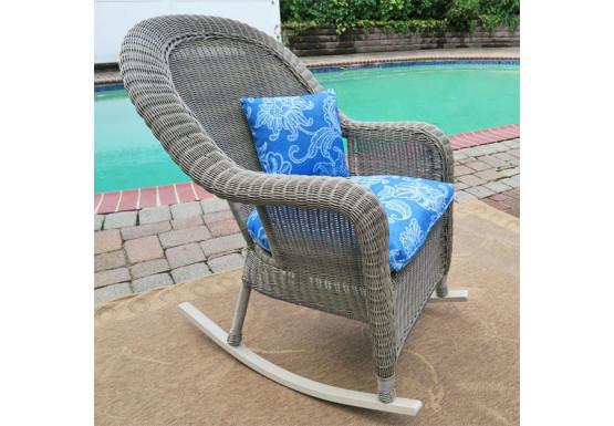 Malibu Resin Wicker Rocking Chairs, Driftwood - Malibu Resin Wicker Rocking Chairs, Driftwood