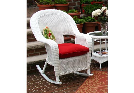 Malibu Resin Wicker Rocking Chairs, White - Malibu Resin Wicker Rocking Chairs, White