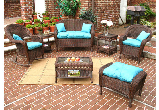4 Piece Malibu Resin Wicker Set with 2-Chairs - ANTIQUE BROWN