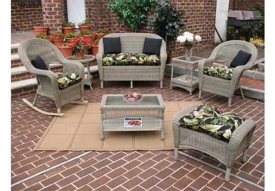 4 Piece Malibu Resin Wicker Set with 2-Chairs - DRIFTWOOD