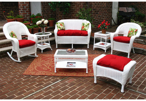 4 Piece Malibu Set with 1-Chair & 1-Rocker - WHITE