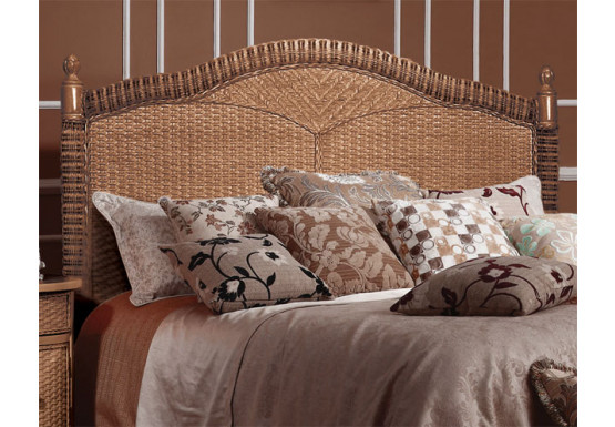 Montego Bay 39 Twin Wicker Headboard, Chestnut - Montego Bay 39 Twin Wicker Headboard, Chestnut