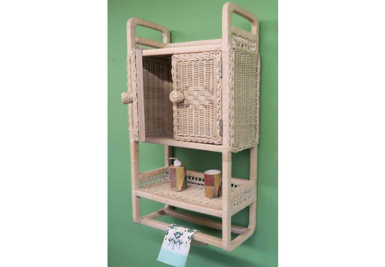 Wicker Cabinet With Towel Bar, White Wash - Wicker Cabinet With Towel Bar, White Wash
