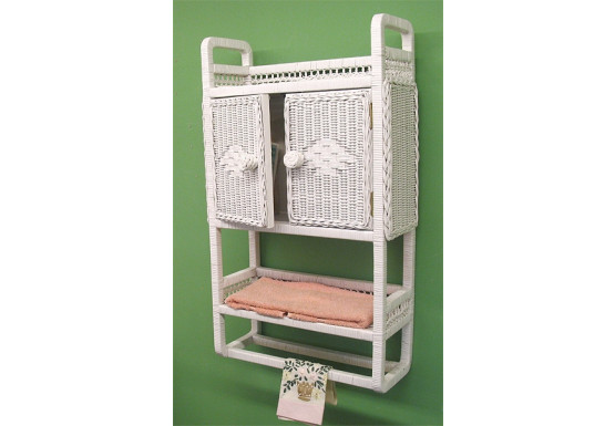 Wicker Cabinet With Towel Bar, White - Wicker Cabinet With Towel Bar, White