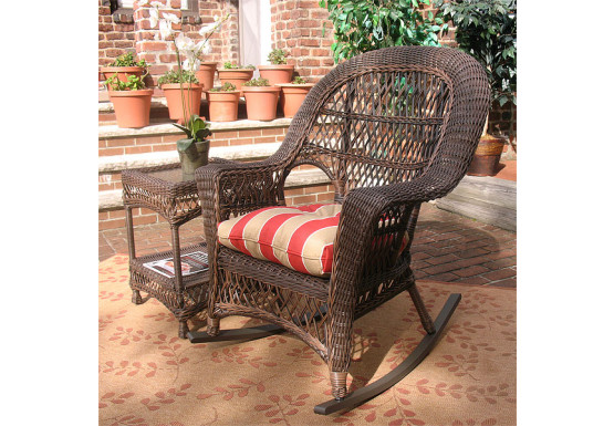 Madrid Resin Wicker Rocking Chairs, Rustic Brown - Madrid Resin Wicker Rocking Chairs, Rustic Brown