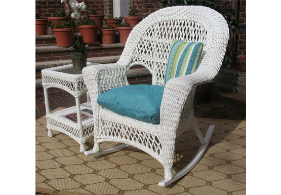 Madrid Resin Wicker Rocking Chairs, White - Madrid Resin Wicker Rocking Chairs, White