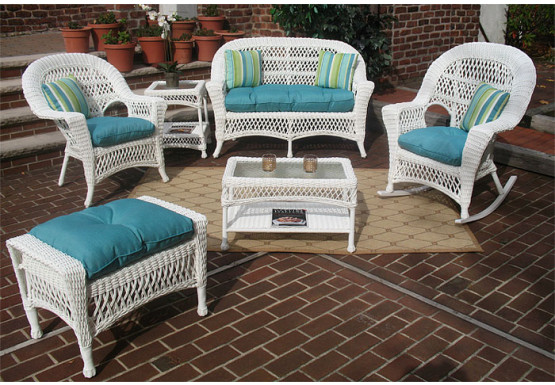 4 Piece Madrid Wicker Set With Cushions 2 Chairs