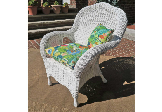 Naples Rattan Framed Natural  Wicker Chair - WHITE