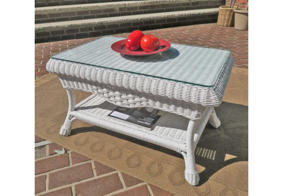 Naples Wicker Cocktail Table with Glass Top (2 colors) - WHITE