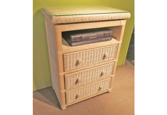 Pavilion 3-Drawer Swivel Top Wicker TV. Stand, White Wash - Pavilion 3-Drawer Swivel Top Wicker TV. Stand, White Wash