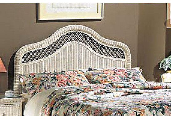 Pavilion X-Top King Wicker Headboard, White - Pavilion X-Top King Wicker Headboard, White