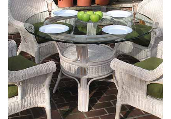 Pole Rattan 48 Round Dining Table With Glass Top