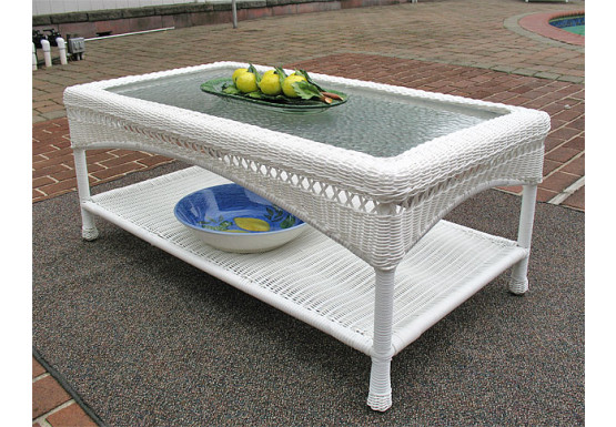 Palm Springs Resin Wicker Cocktail or CoffeeTable  - WHITE