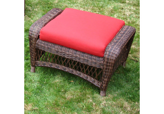 Palm Springs Resin Wicker Ottoman  - ANTIQUE BROWN