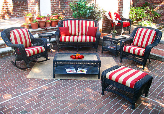 4 Piece Palm Springs Resin Wicker Furniture Set, Love Seat, Chair, Rocker, Coffee Table - BLACK