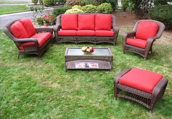 4 Piece Palm Springs Resin Wicker Furniture Set, Sofa, 2 Chairs & Cocktail Table - ANTIQUE BROWN